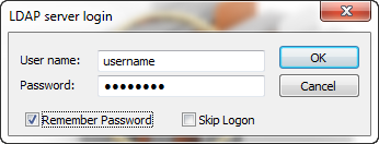 LDAP Server Login dialog box