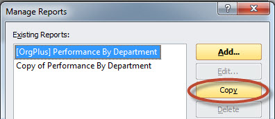 Manage Reports Dialog Box