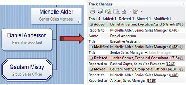 Organizational chart and Track Changes Panel